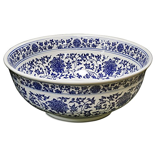 China Furniture Online Porcelain Basin Bowl with Blue and White Chinoiserie Design -  China Furniture and Arts, VB16BW-B