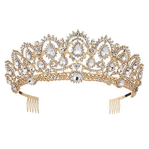 KMVEXO Baroque Royal Queen Gold Wedding Crown Crystal Princess Tiara Headbands for Women Bridal Party Birthday Headpieces (Gold White)