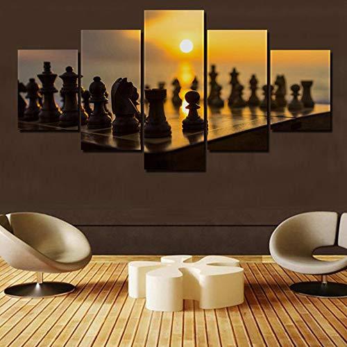 WMWSH Modern Wandbilder Schach 5 Leinwandbilder Modulare Hd Malerei Wandkunst Druck Poster 5 Panel Leinwand Bild Druck Moderne Wohnzimmer Wohnkultur