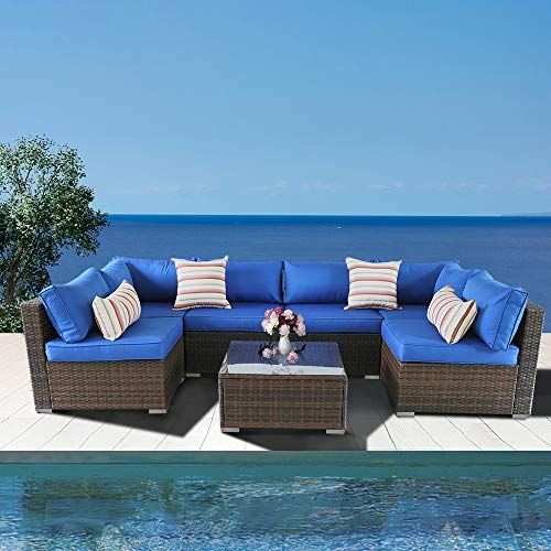 Outime Patio Sofa Brown Rattan Garden Sectional Sofa Set Outside Furniture Wicker Couch Outdoor Rattan Sofa Conversation Sets Royal Blue Cushions 7pcs