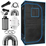 36' x 36' x 72' Indoor Plant Grow Tent Complete Kit, Hydroponics Tent System with 4' Inline Fan, Carbon Filter, Ducting Combos, 24H Timer, Hangers