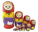 Juego de 10granja vida apilamiento juguete ruso muñeca hecho a mano de madera juguete para niños Nursery Room Decor