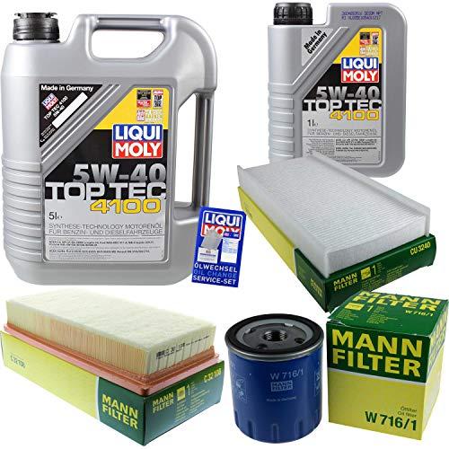 Filter Set Inspektionspaket 6 Liter Liqui Moly Motoröl Top Tec 4100 5W-40 MANN-FILTER Innenraumfilter Luftfilter Ölfilter