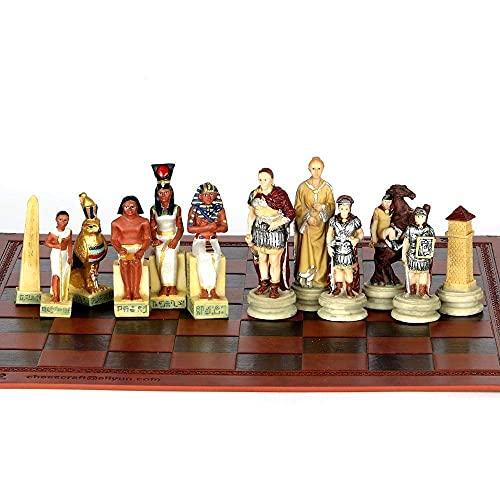 Classic International Ajedrez Juegos de Juegos de Juego Conjunto de ajedrez, Tema de la junta de Egipto Roma Guerra Juegos de ajedrez Pieces Piezas de ajedrez coleccionables Juego de ajedrez Juguetes