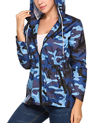 Corgy Lady Waterproof Athletic Raincoat Rainproof Windproof Plus Size Jacket (S-XXL),Blue