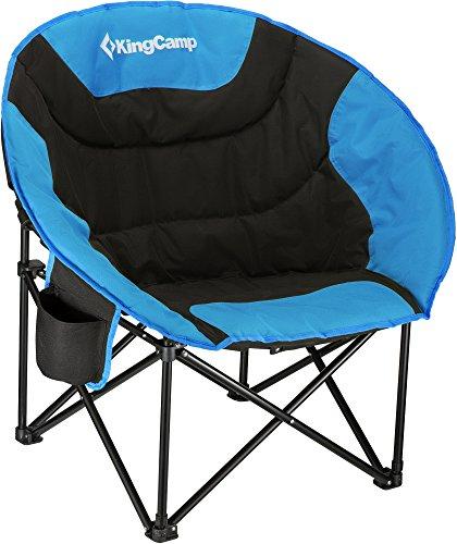 KingCamp Moon Saucer Sedia Pieghevole da Campeggio Rotonda Seduta Imbottita Struttura in Acciaio Resistente con portabicchieri e Tasca Posteriore (Blu)