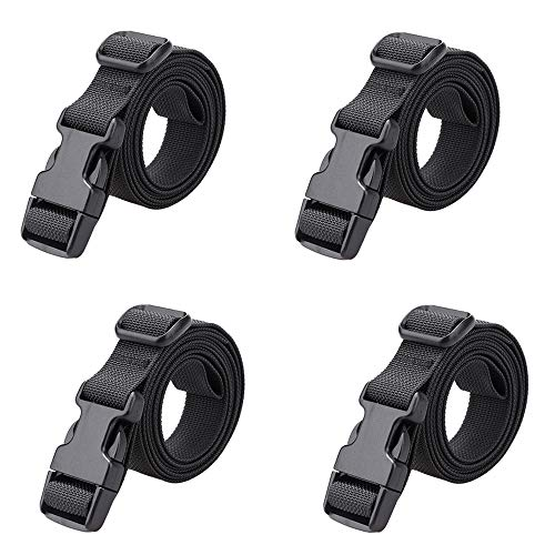 MAGARROW 78' x 1' Strap Buckle Packing Straps Adjustable 1-Inch Belt (Black (4-PCS))