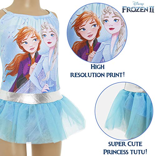 Disney Frozen 2 Swimming Costume, One Piece Girls Swimsuit with Princesses Frozen 2 Anna and Elsa, Swimwear for Kids, Gifts for Girls Toddlers Age 3-10 Years (5/6 Years) Blue