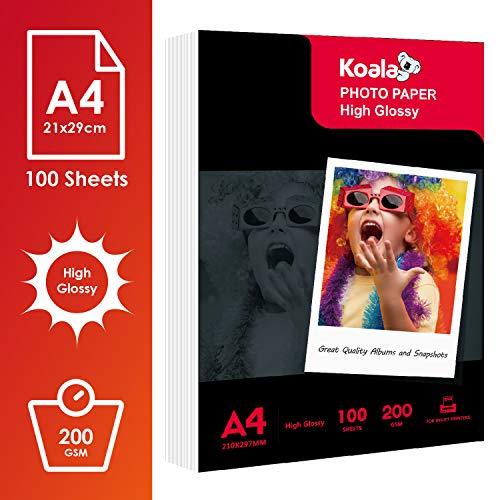 KOALA Papel fotográfico de Brillante, A4, 100 hojas, 200 g/m², para impresora de inyección de tinta Canon HP Epson