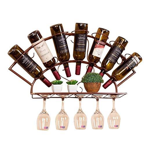 Estantería de vino Muebles de hierro forjado, bastidores de vino que cuelgan titular de armario sencillo salón del restaurante sola taza pueden colgar las botellas de vino que cuelgan 7 10 tazas estan