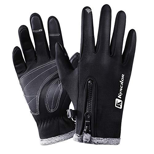 CAheadY Radfahren Skifahren Winter Warm Wasserdichte Vollfinger Unisex-Touchscreen-Handschuhe Grey L