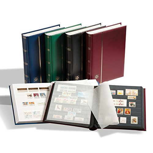 LEUCHTTURM Einsteckbücher Comfort | Hochwertiges Briefmarken-Album | 32 schwarze Seiten | wattierter Einband in Leder-Optik in Schwarz| DIN A4