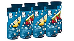SNACKS FOR TINY HANDS: An ideal snack for your crawler learning to self feed, our Puffs Cereal Snacks are easy to chew & swallow & they're just the right size for little fingers learning to pick up. Includes 4 each of Banana & Strawberry Apple. WHOLE...