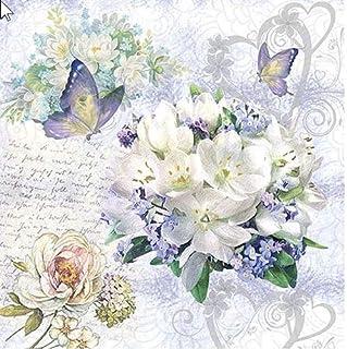 20 servilletas con diseño de flores vintage y mariposas, 33 x 33 cm