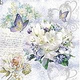 20 servilletas de flores vintage, mariposas, flores, bodas, manualidades, 33 x 33 cm