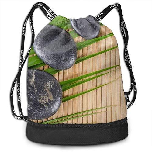 DJNGN Mochila del Lazo, Roca en un Bolso de bambú de la Mochila del Paquete del Gimnasio del Viaje del Deporte de la impresión de la Estera