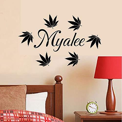 Pegatinas de pared para habitación de niños, hoja de arce, decoración de dormitorio para niña, diseño personalizado, arte para el hogar, mural, pegatinas de pared A6 47x20cm