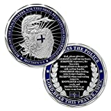 Saint Michael police challenge coin, dimension: 1.57'' × 0.12'' ; Matthew 5:9--blessed are the peacemakers, for they shall be called the children of god ; Law enforcement coin With police officer prayer, god bless the police ; Thank you gift for poli...