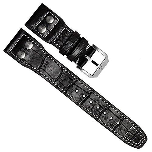 Correa de reloj de piel auténtica de 22 mm para IWC Pilot (hebilla negra)