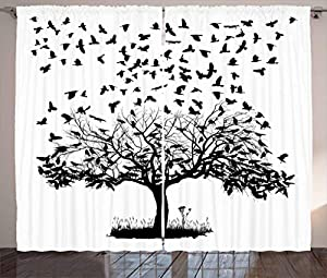 Birds Flying into the Sky from a Tree, Living Room Bedroom Window