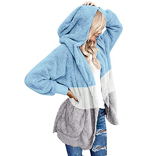 yazidan Damen Fleecejacke Teddy-Fleece Kapuzenpullover Winter Warme Fleecemental Dicke Kapuzenpulli Plüschjacke Oversize Wintermantel Kapuzenmantel Jacke Mantel