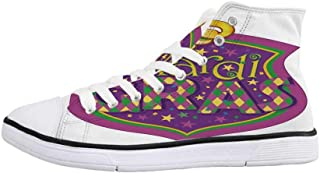 Mardi Gras Comfortable High Top Canvas ShoesAntique Old Fashioned Motifs in Mardi Gras Holiday Colors Tile Pattern for Women Girls,US 5