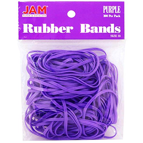 JAM PAPER Colorful Rubber Bands - Size 33 - Purple Rubberbands - 100/Pack