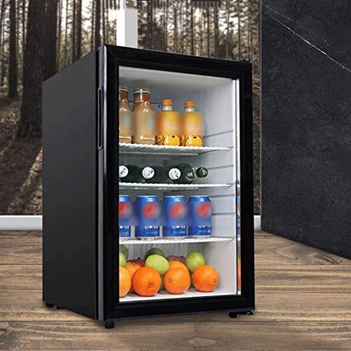 LJJOO Refrigerador de refrigerador y refrigerador refrigerador pequeño con estantes extraíbles y Puerta de Vidrio Ajuste Temperatura Temperatura Tranquila de bajo Ruido para el hogar/Bar/Oficina F