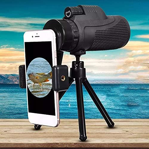 Lente telefoto con zoom de alta potencia 40x60 Telescopio monocular HD Lente de cámara de teléfono Universal para teléfono inteligente Móvil con adaptador de teléfono inteligente Traje de trípode par