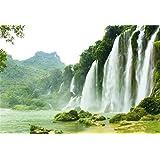Qinunipoto 背景布 春 撮影布 背景 布 背景紙 春景色 滝 青山 川の水 撮影 背景 写真 撮影布 自然の風景 写真背景布 撮影用背景布 写真の背景 屋外の風景 風景写真 ポリエステル 洗濯可 2.5m x 1.5m