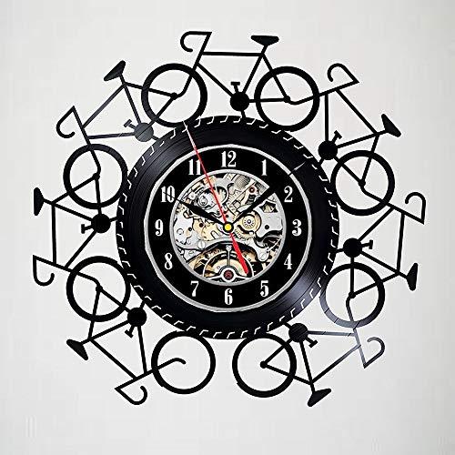 RUIXINBC Fiets Vinyl Record Wandklok, Fiets Art Decoratie Stille Record Wandklok Fiets Rider Gift