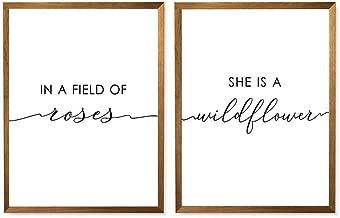 In A Field Of Roses She Is A Wildflower Print, Flower Girl, Baby Girl Nursery Printable Wall Art, Nursery Decor Set of 2-8x10 - Unframed