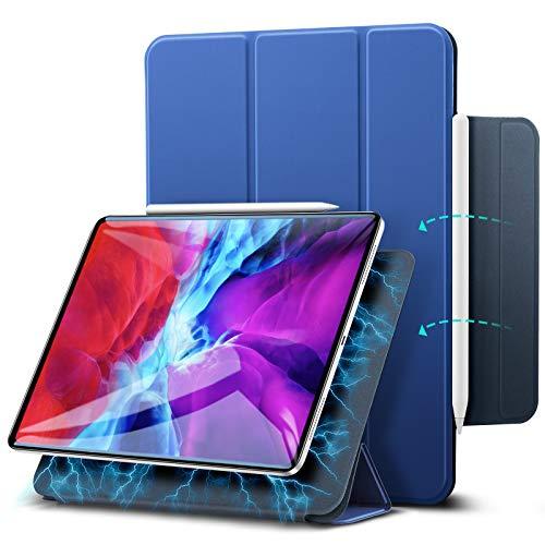 """ESR Hülle kompatibel mit iPad Pro 12.9"""" 2020, praktischer Magnetverschluss [Unterstützt Apple Pencil Koppeln und Laden] Trifold Standhülle, Smart Hülle, Auto Schlaf-/Weckfunktion - Marineblau"""