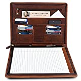 Business Leather Portfolio Leather Padfolio - Letter Pad Size Folder - iPad Organizer Folder Gift for Men and Women (Brown)