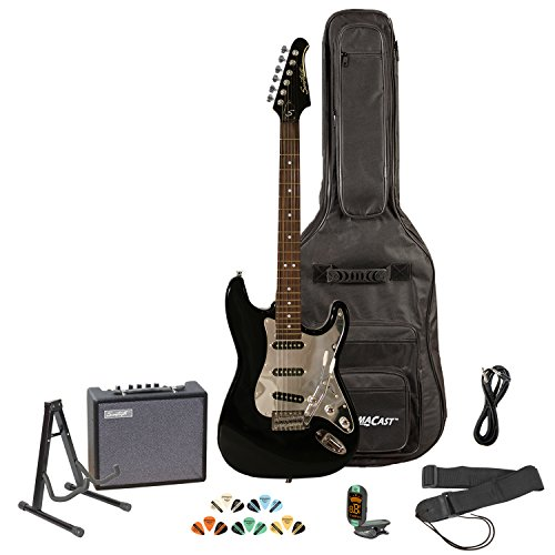 Sawtooth ST-ES-BKC-KIT-3 Black Electric Guitar with Chrome Pickguard - Includes Accessories, Amp,...
