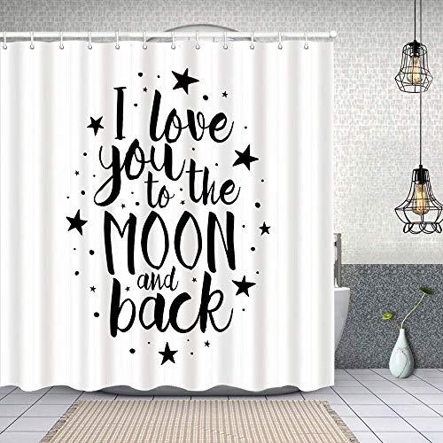 YANAIX Cortina Ducha Impermeable,Romántico Te Amo a la Luna y Espalda Palabras motivacionales de Estilo de Vida Imprimir,Impresión de Cortinas baño con 12 Ganchos 150x180cm