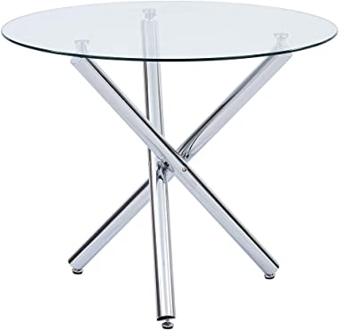 Dining Table with Clear Tempered Glass Top, 3 Chrome Legs Round Table for 2 or 4 Person, Modern Round Glass Kitchen Table Fur