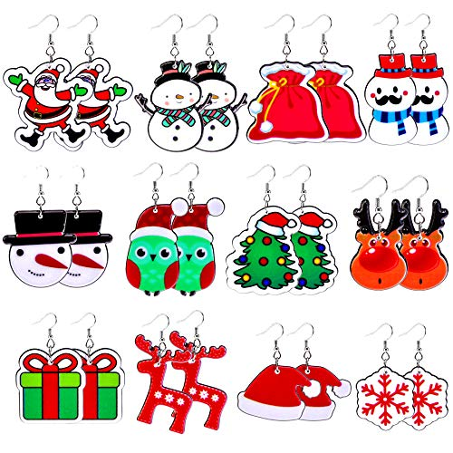 Tiparts 12 Pairs Christmas Cartoons Earrings Set Christmas Acrylic Dangle Earrings for Women Christmas Costume Party Decoration Supplies