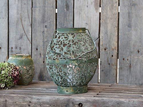 Chic antieke Franse lantaarn kant decor *antiek groen * metaal *glas * vintage * Nieuw*