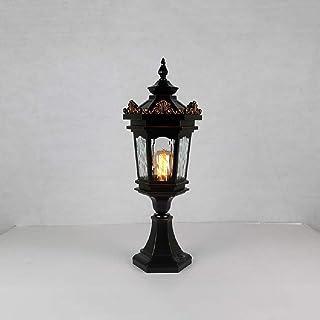 Aaedrag Retro Industry Postal Light Outdoor Waterproof Lawn Lantern Post Light Garden Lighting Fixture With Hammering Glas...