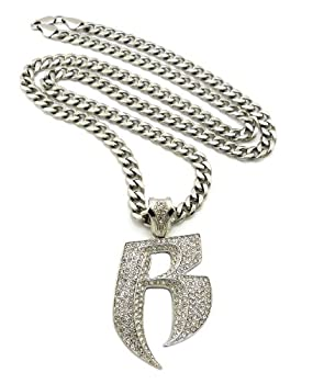 Crescendo SJ INC New Iced Out Ruff Ryder R Pendant &36  Stainless Steel Cuban Chain Necklace RC43SS