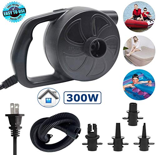 ONG NAMO Electric Air Pump, Portable Quick Air Pump with 4 Nozzles for Air Mattresses Beds Boats Swimming Ring Inflatable Pool Toys 110V AC (300W)