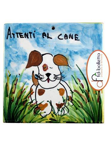 Decoración y iluminación de baldosas ornamentales de cerámica cuidados con el perro de pared pintada a mano Ma20. Medidas: 10 cm de altura, 10 cm de ancho, el grosor puede variar de 8 mm a 13 mm.