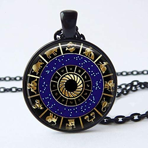 Dfgh Nieuwe collectie Hanger Collier sterrenbeelden van de dierenriem Wicca Pagan Sieraden Glas Cabochon Jewelry (Main Stone Color : Silver, Metal Color : 3)