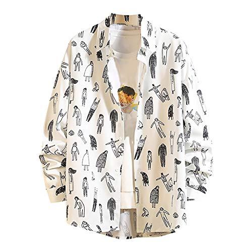 Yowablo Hemd Herren New Spring Fashion Langarm Top groß bequem bequem gedruckt (M,4Weiß)