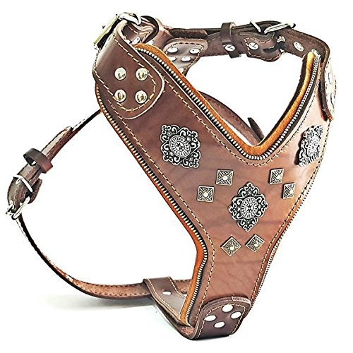 "Bestia ""Aztec Big Dog Leather Harness. 2 Tone Rivet Decorations. Zipper Decoration. Foam and Leather Padding Handmade in Europe."