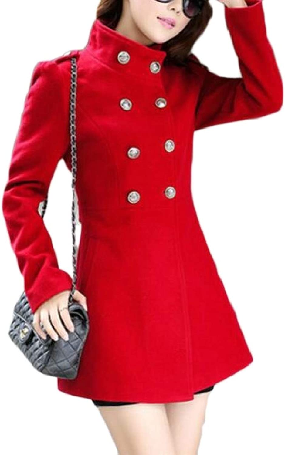 LKCENCA Womens Winter Slim Long Sleeve Woolen Blends Double Breasted Trench Coat