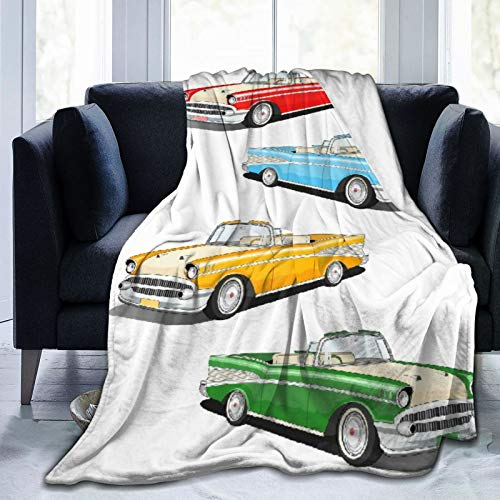 """Janrely Plush Throw Blanket for All Seasons Soft Lightweight Warm,Collection of Four Classic Car Roadsters Old Fashioned Transportation,Comfortable Bed Blanket Travel Bed Couch Quilt,40"""" X 50"""""""