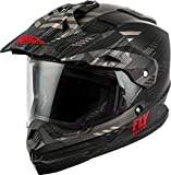 FLY Racing Trekker Solid Helmet, Full-Face Motorcycle Helmet for Men and Women (MATTE, BLACK/GREY/RED MD)