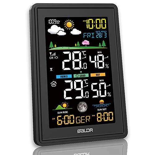 Konsen Wetterstation Farbdisplay mit Außensensor für innen-außen, DCF-Funkuhr Multifunktionale Thermometer-Hygrometer mit Wettervorhersage Barometer Mondphasen Datum Wecker und Beleuchtung, Schwarz